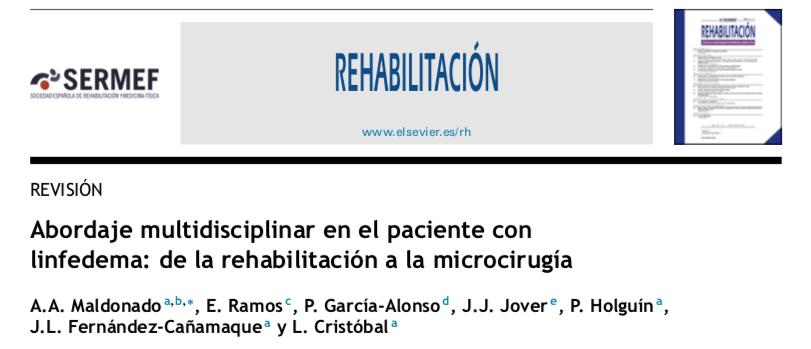 Publicación cientifica sobre la importancia del equipo multidisciplinar en el tratamiento del linfedema
